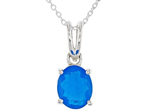 Neon Blue Opal Sterling Silver Pendant With Chain 1.00ctw
