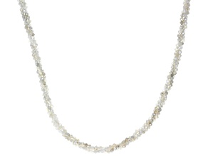 Rainbow Moonstone Sterling Silver Beaded Necklace 45ctw