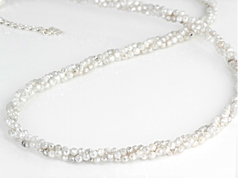 Rainbow moonstone and silver beaded necklace