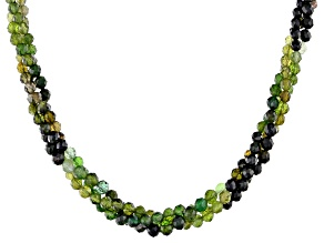 Green Tourmaline Sterling Silver Necklace Approximately 90.00ctw