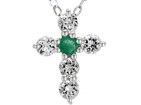 Blue Sapphire, Ruby & Emerald Rhodium Over Silver Cross Pendant W/Chain Set of 3 0.75ctw