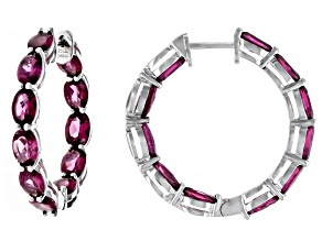 Purple Rhodolite Rhodium Over Sterling Silver Hoop Earrings 12.80ctw