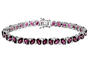 Purple Rhodolite Rhodium Over Sterling Silver Bracelet 19.52ctw