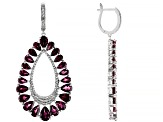 Purple Rhodolite Rhodium Over Sterling Silver Earrings 18.99ctw