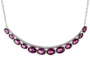 Purple Rhodolite Rhodium Over Sterling Silver Necklace 7.40ctw
