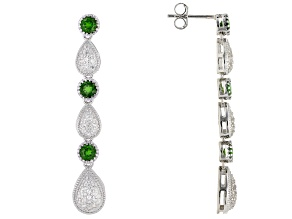 Green Chrome Diopside Rhodium Over Silver Dangle Earrings 1.87ctw