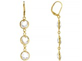 White Topaz 18K Gold Over Sterling Silver Drop Earrings 12.00ctw