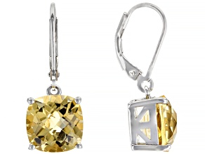 Square Cushion Citrine Rhodium Over Sterling Silver Earrings 6ctw