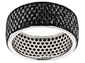 Black Spinel Rhodium Over Sterling Silver Band Ring 2.95ctw