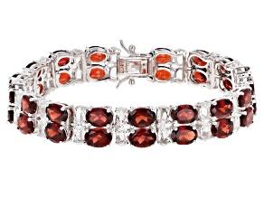 Red Garnet Rhodium Over Silver Double-Row Bracelet 36.00ctw