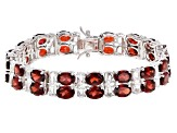 Red Garnet Rhodium Over Silver Double-Row Bracelet 36.00ctw