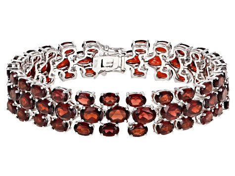 Red Garnet Rhodium Over Silver 3-Row Bracelet 54.00ctw