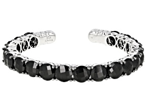 Black Spinel Rhodium Over Silver Cuff Bracelet 38.00ctw