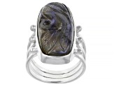 Gray Labradorite Sterling Silver Hand Carved Ring