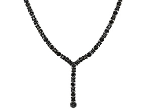Black Spinel Rhodium Over Sterling Silver Y Necklace 9.84ctw