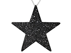 Black Spinel Rhodium Over Silver Star Pendant With Chain 3.80ctw