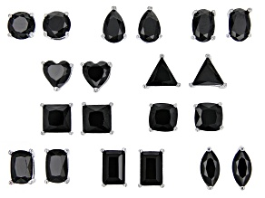 Black Spinel Rhodium Over Silver 10 Pairs Stud Earrings Set 11.00ctw