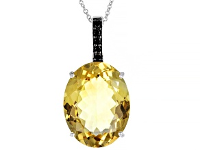 Citrine Rhodium Over Sterling Silver Pendant Wtih Chain 20.15ctw