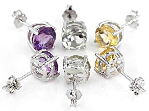 Multi-Gem rhodium over silver 3 pairs stud earrings set 4.82ctw