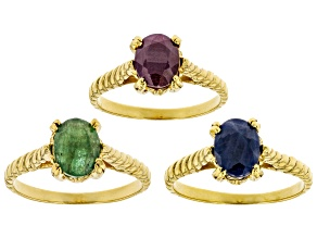 Green Emerald 18k Gold Over Sterling Silver Solitaire Set of 3 Rings 4.70ctw