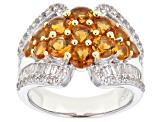 Citrine Rhodium Over Sterling Silver Ring 3.6ctw