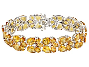 Yellow Citrine Rhodium Over Rhodium Over Sterling Silver Bracelet 40ctw