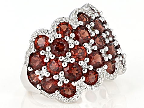Red Garnet Rhodium Over Sterling Silver Ring  8.1ctw
