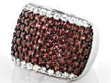 Red Garnet Rhodium Over Sterling Silver Ring 4.75ctw