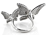 Black Spinel Rhodium Over Sterling Silver Butterfly Ring 3ctw