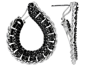 Spinel Rhodium Over Sterling Silver Hoop Earrings 4ctw