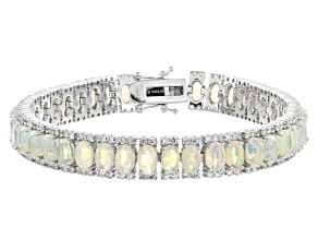Ethiopian Opal Rhodium Over Sterling Silver Bracelet 13.11ctw