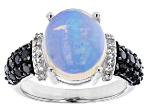 Ethiopian Opal Rhodium Over Sterling Silver Ring 0.80ctw