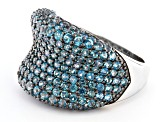 Blue Swiss Topaz Rhodium Over Sterling Silver Ring 3.10ctw