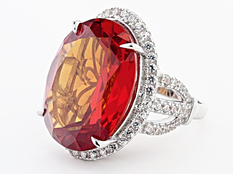 Lab Created Padparadscha Sapphire Rhodium Over Sterling Silver Ring 31.75ctw