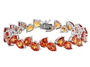 Lab Created Padparadscha Sapphire Rhodium Over Sterling Silver Tennis Bracelet 40.00ctw