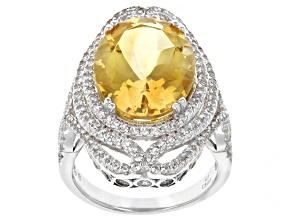 Citrine Rhodium Over Sterling Silver Ring 8.50ctw