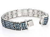 Blue Topaz Rhodium Over Sterling Silver Bracelet 12.00ctw