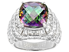 Mystic Quartz Rhodium Over Sterling Silver Ring 7.00ctw
