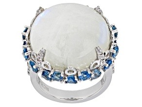 Cabochon Moonstone Rhodium Over Sterling Silver Ring 3.45ctw