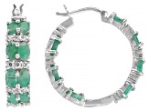 Emerald Rhodium Over Sterling Silver Hoop Earrings 6.15ctw