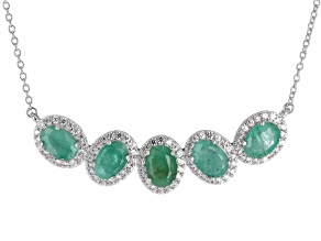 Emerald Rhodium Over Sterling Silver Necklace 3.95ctw