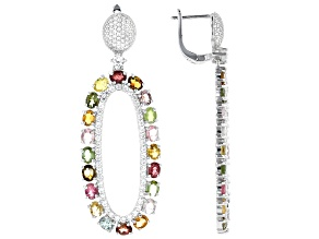 Mixed Color Tourmaline Rhodium Over Silver Earrings 9.37ctw