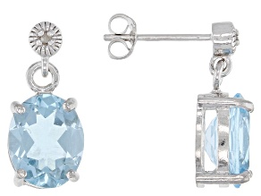 Blue Topaz  Rhodium Over Sterling Silver Earrings 5.42ctw