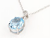 Blue Topaz Rhodium Over Sterling Silver Pendant With Chain