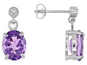 Amethyst Rhodium Over Sterling Silver Earrings 3.82ctw