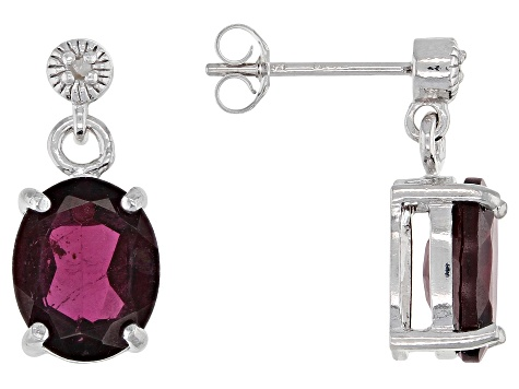 Garnet Rhodium Over Sterling Silver Earring 5.82ctw