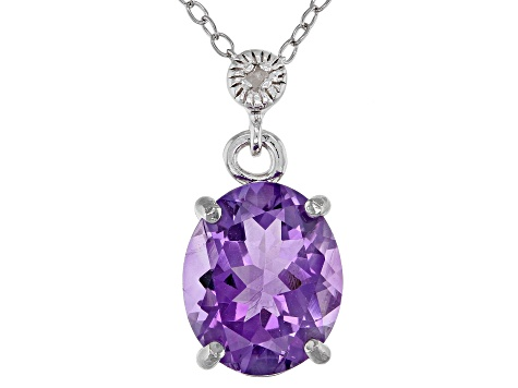 Amethyst Rhodium Over Sterling Silver Pendant With Chain 2.71ctw