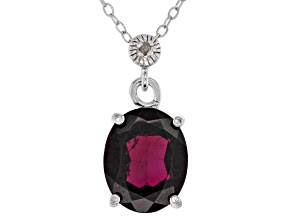 Red Garnet Rhodium Over Silver Pendant With Chain 4.11ctw