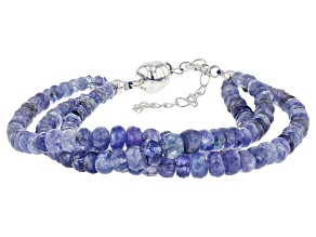 Tanzanite  Beaded Rhodium Over Sterling Silver Bracelet Approximately 95.00ctw
