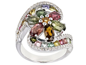 Multi Tourmaline Rhodium Over Sterling Silver Ring 3.45ctw